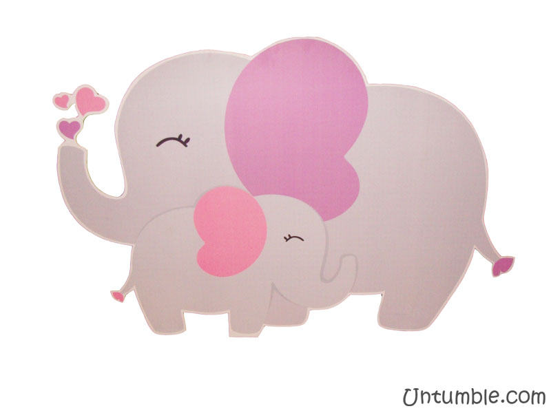 Mom And Baby Elephant Clipart Pink