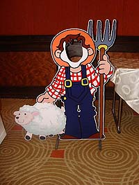 Barnyard Birthday theme Farmer with sheep photobooth