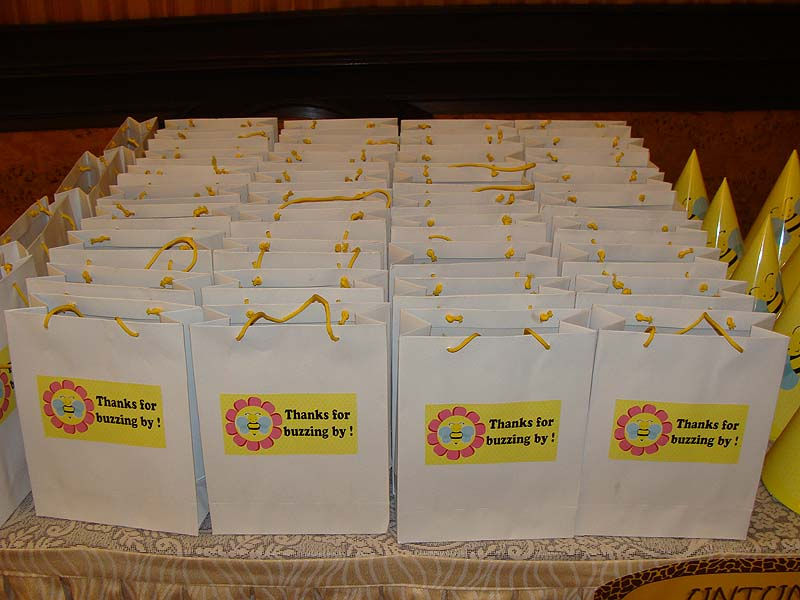 Bumble Bee birthday theme Stickered gift bags