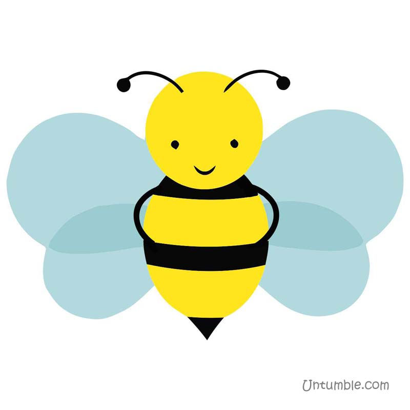 Happy blue winged bee poster