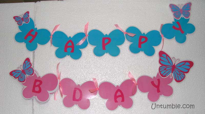 Pink Butterfly Birthday theme Happy Birthday Bunting Untumblecom