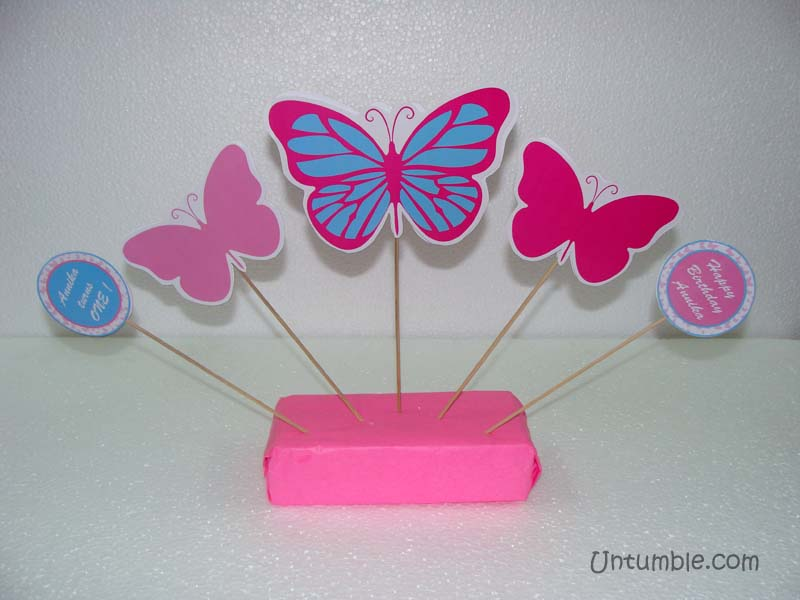 Pink Butterfly Birthday theme Pastel shaded butterfly on skewers