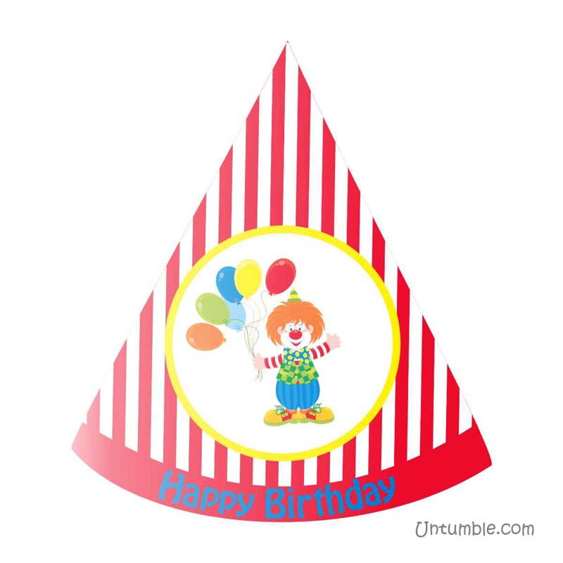 Red striped clown / carnival hat