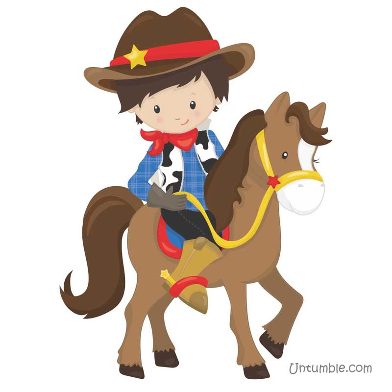 Cowboy theme Cowboy riding horse poster