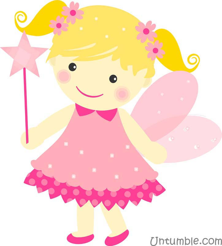 Pink fairy with flowers - posters