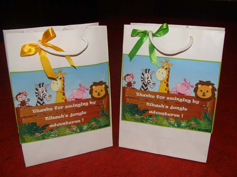 Jungle Theme Stickered Gift Bags