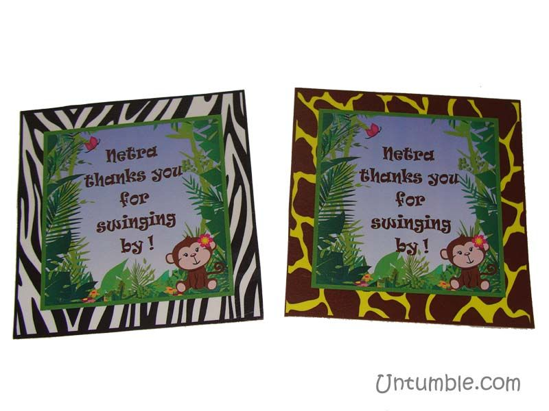 Jungle Birthday Supplies theme Thank you cards