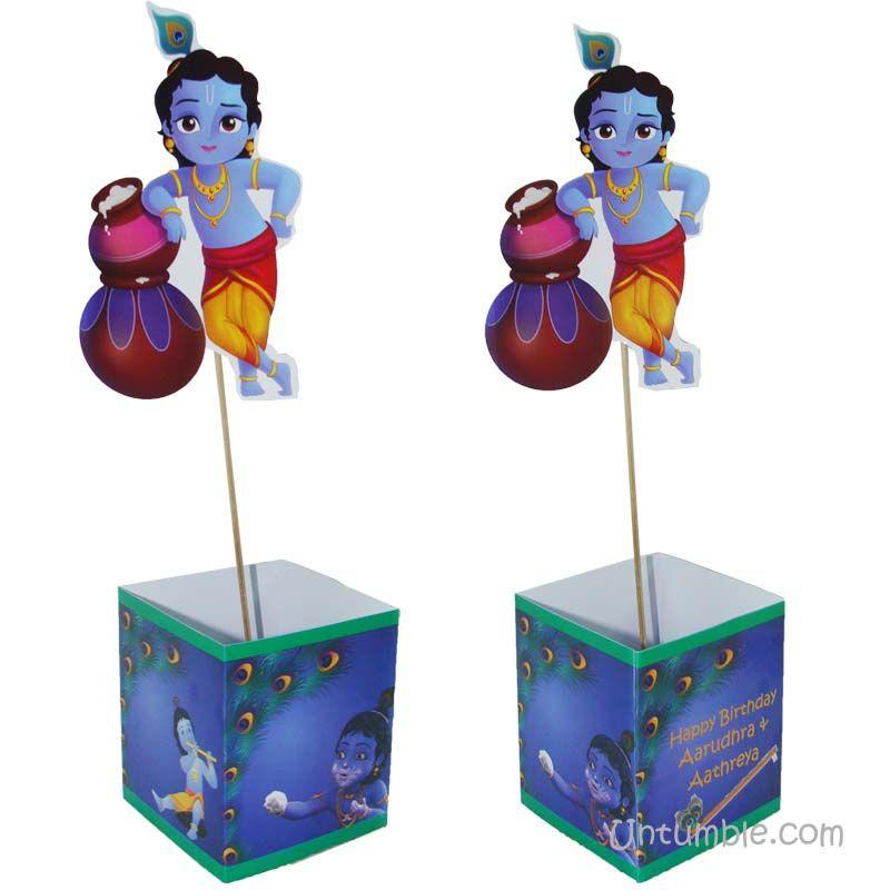 Little Krishna Theme Butter Pots On Box Type Centerpiece