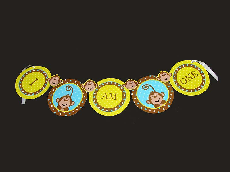 Monkey Birthday theme Happy Birthday Banners