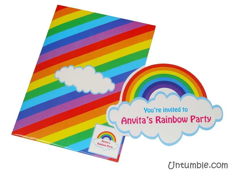 Rainbow Theme Rainbow Shaped Invite Untumble Com