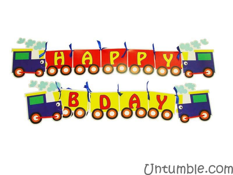 Vehicles birthday theme Happy Birthday Banners