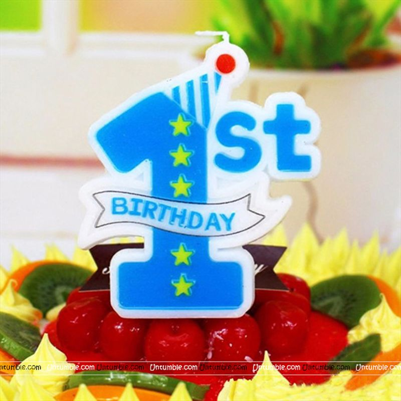 Tractor Theme Blue 1st Birthday Candle