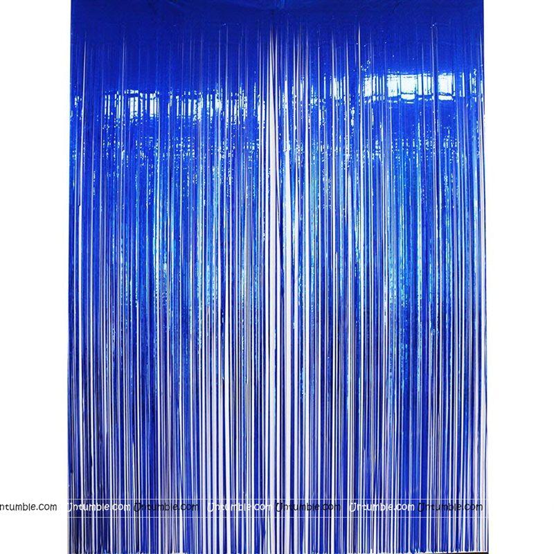 Robot Party Supplies Theme Blue 3x6 Foil Curtains Set Of 2
