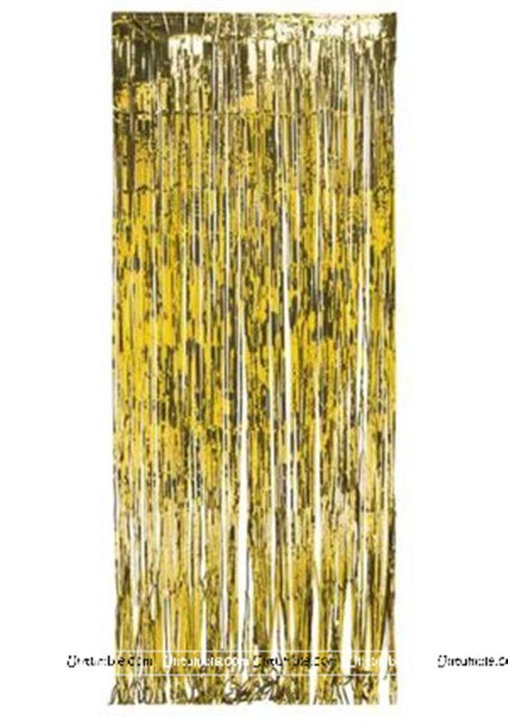 Hawaiian Theme Gold 3x6 Foil Curtains Set Of 2
