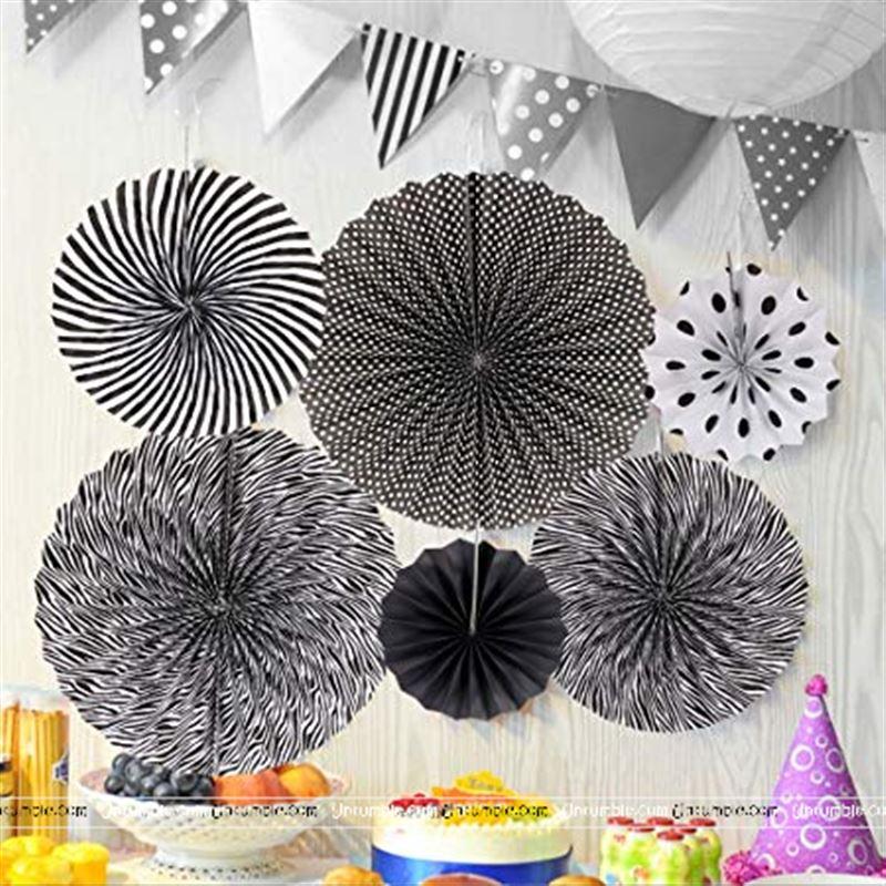 Pink Blue Theme Black White Party Decoration Paper Fan Kit