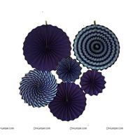 Dark Blue Paper fan decoration set