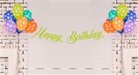 Hawaiian theme Green Happy Birthday Banner