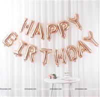 Happy Birthday balloon Alphabets (Rose Gold)