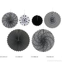 Sailor/Nautical theme Black & white party decoration paper fan kit