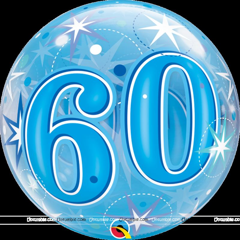 60th Transparent Bubbles Foil Balloon