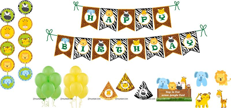 Jungle theme birthday party kits