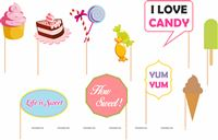 Photo Booth Props - Candyland theme birthday party decoration supplies