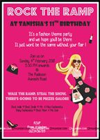Rectangular Invitations - Fashionista Theme Party Supplies
