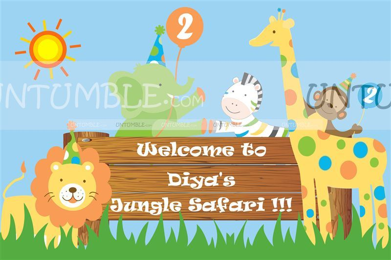 Jungle Safari Birthday theme Backdrop