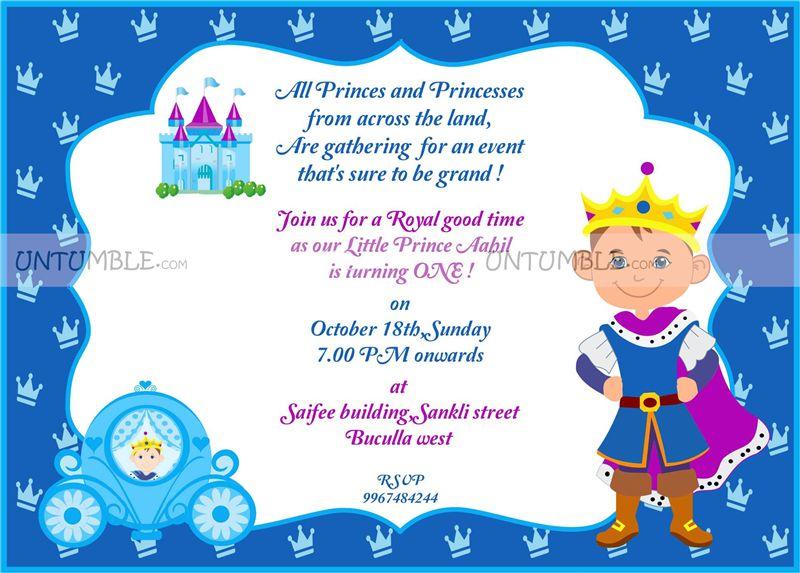 Little Prince theme Little Brave Prince invite Untumblecom