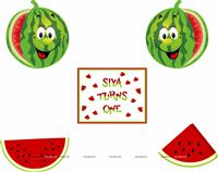 Posters pack of 5 - Watermelon theme birthday party supplies
