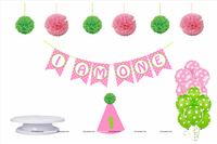 Cake Smash theme  - Baby Girl's First Birthday Decoration, Cake Smash Photo Shoot for girl (Pack of 29 Pieces)