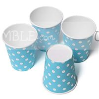 Diwali theme party Blue & white polka paper cups