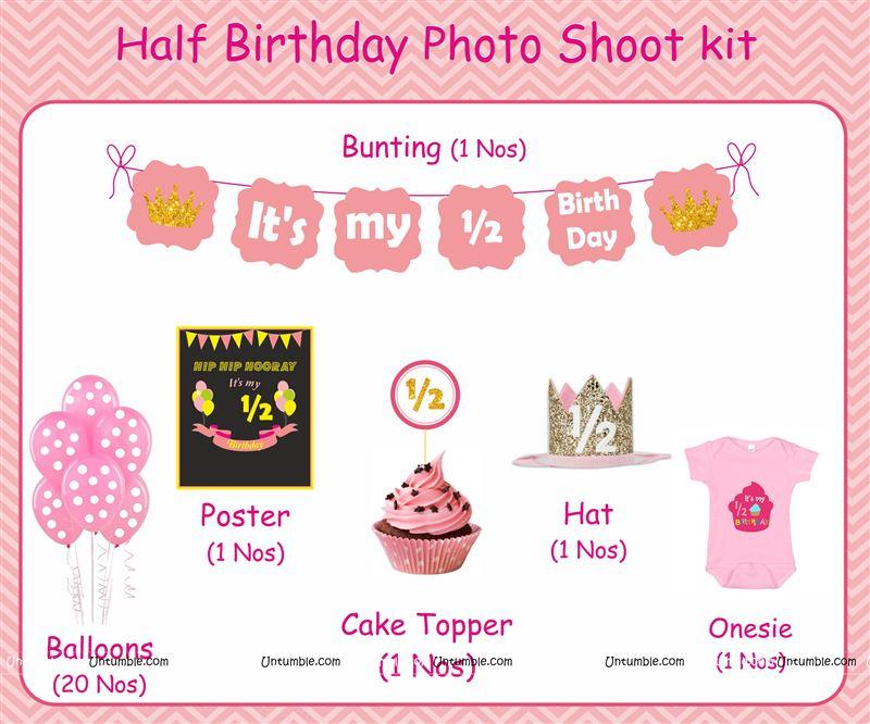 Cake Smash Theme Pink Half Birthday Party Kits For A Baby Girl