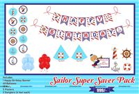 Sailor Super saver birthday decoration kit (pack of 58 pcs)