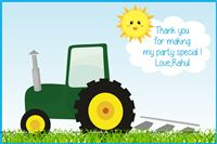 Thank you cards - Tractor theme party supplies