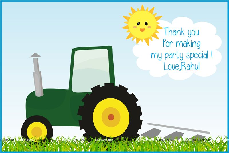 Tractor theme thank you cards