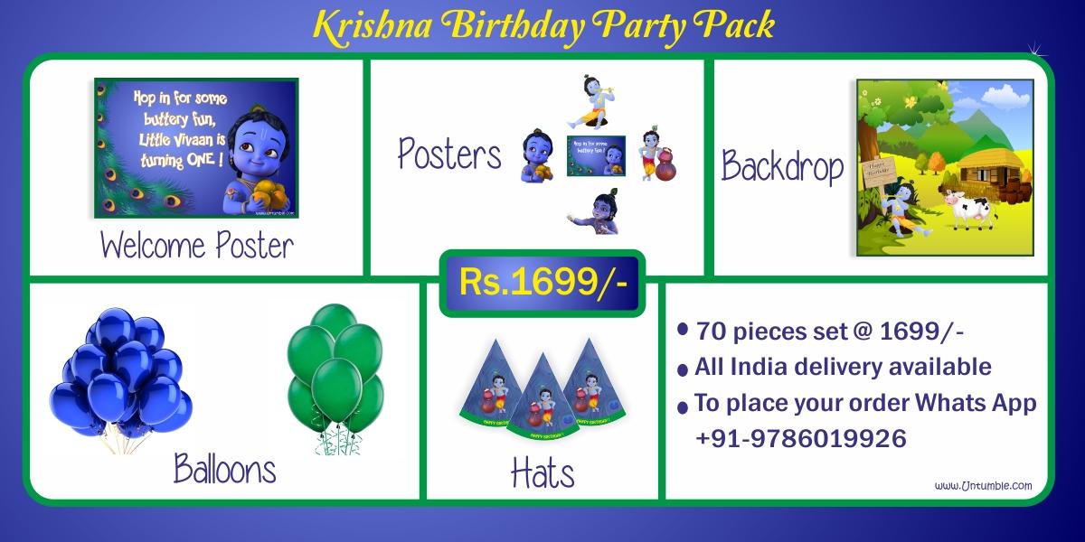 Krishna Theme Birthday Party Supplies Decor