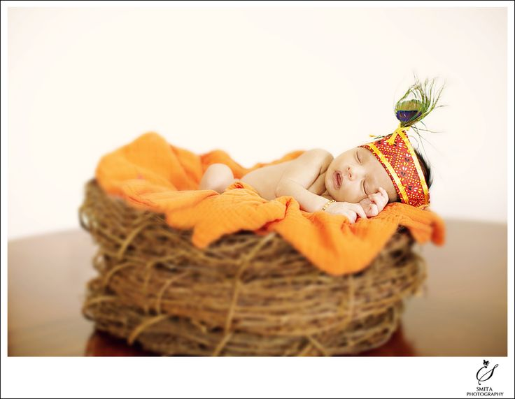 Baby as Krishna on Birds Nest