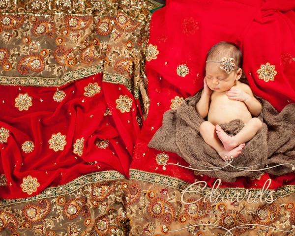 Baby on wedding Sari