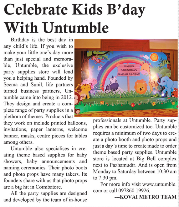 Celebrate Kids B'day with Untumble