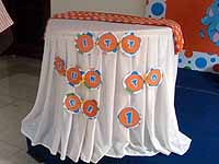 Happy Birthday Banners - Blue & Orange Circus Elephant birthday party supplies