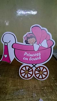 Pink & Blue  theme Princess on board poster