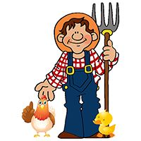 Farmer with hen and duck - Barnyard Birthday