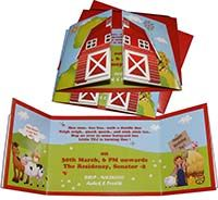 Book type invitation - Barnyard Birthday