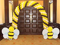 Entrance Balloon arch with bumblebee cutouts