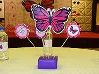 Table Decoration Pink Butterfly Birthday Theme Dark And Purple Centerpiece