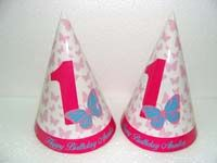 Pink Butterfly Birthday theme Hats