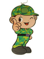 Camouflage theme Kid soldier poster/cutout
