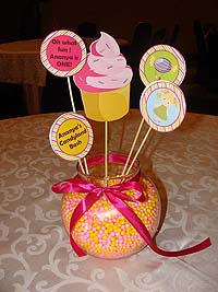 Candy Land theme Fishbowl based center pieces