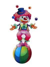 Clown on ball poster